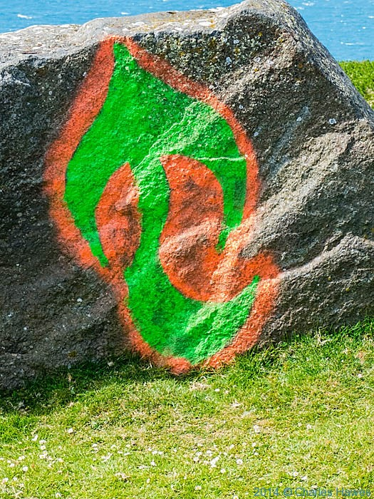 Graffiti on rock near Mynydd Mawr, Lleyn peninsula, photographed from The Wales Coast Path by Charles Hawes