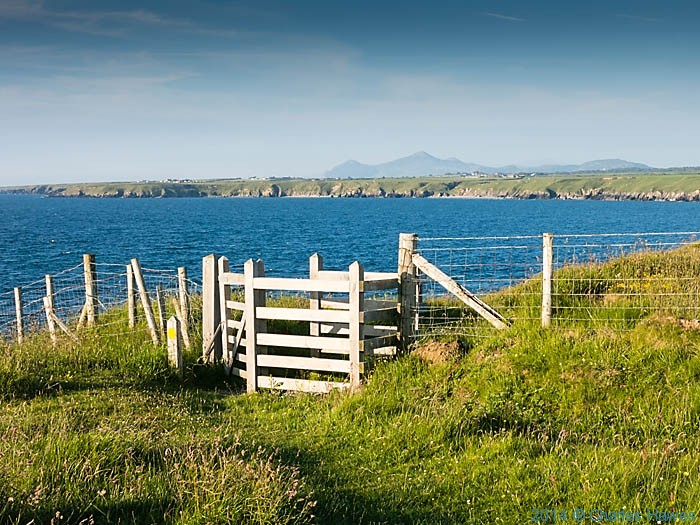 Gate on the wales Coast Path near Porth Colmon, photographed by Charles Hawes