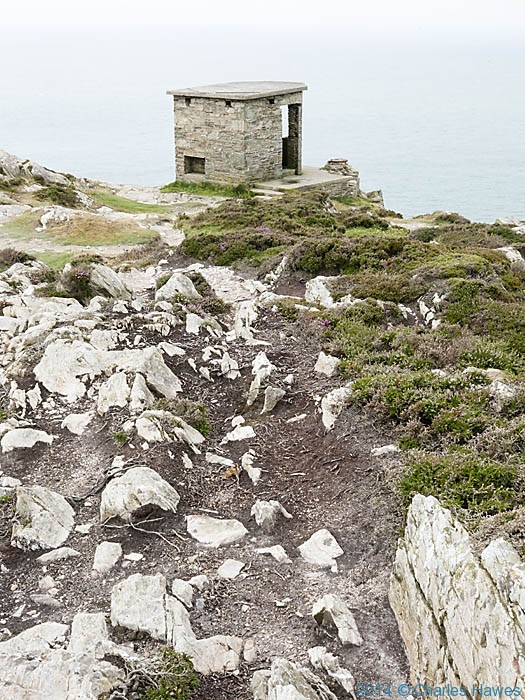 WW2 lookout above South Stack lighthouse on Anglesey, photographed from The Wales Coast Path by Charles Hawes