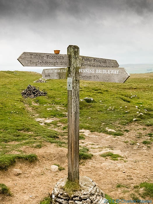 Finger-post on the Pennine Bridleway near Ingleborough, photographed by Charles Hawes