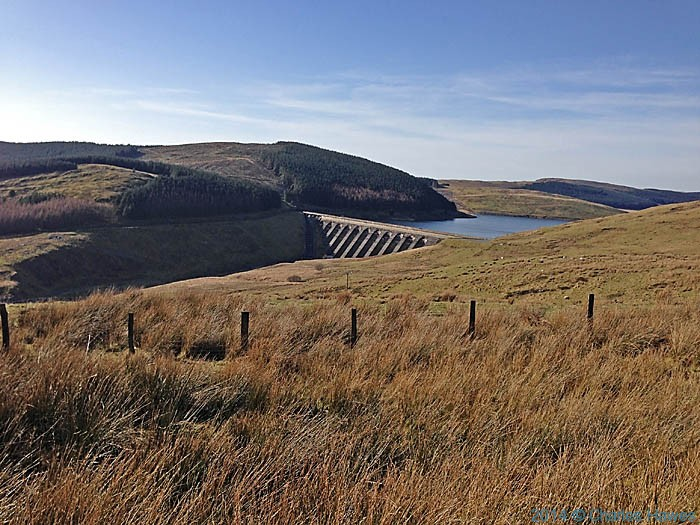 Dam at the Nant-y--moch reservoir, below Plynlimon, photographed by Charles Hawes