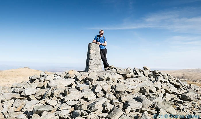 Charles Hawes at the Trig Point of Plynlimon, photographed by Bob Pinder