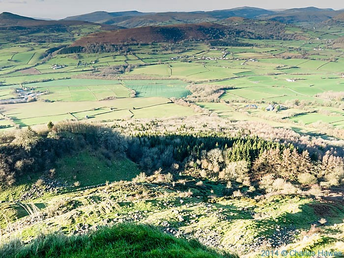 View north from The Skirrid (Ysgyryd Fawr), Monmouthshire, photographed  by Charles Hawes
