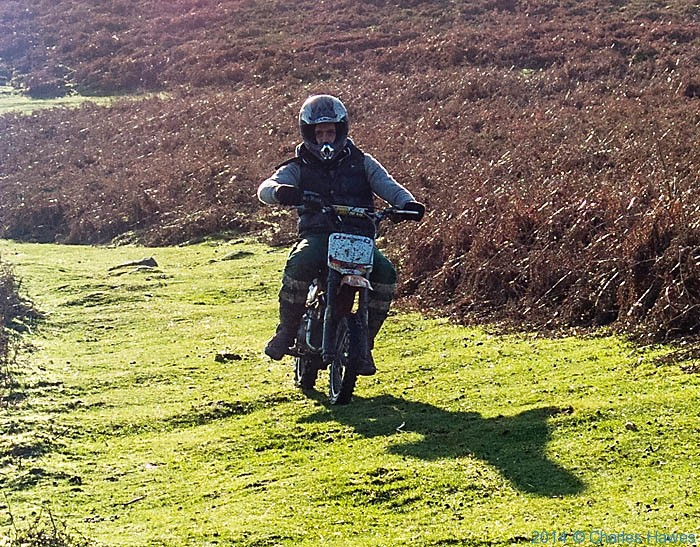 Motocycle on footpath of Sugar Loaf, Abergavenny, Photographed by Charles Hawes
