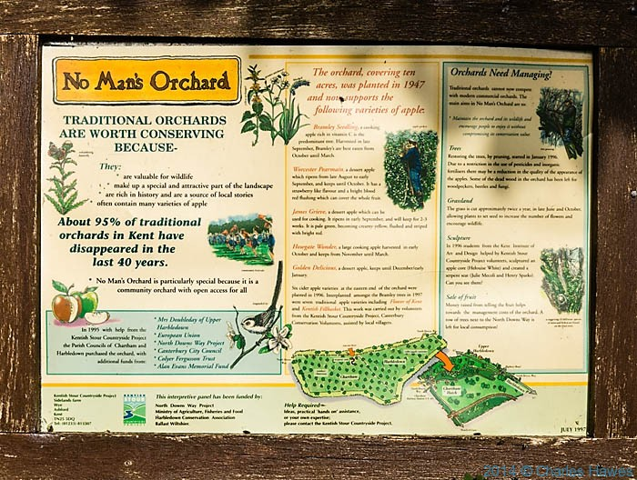 Information Board for No Man's Orchard, near Canterbury, photographed from The North Downs Way by Charles Hawes