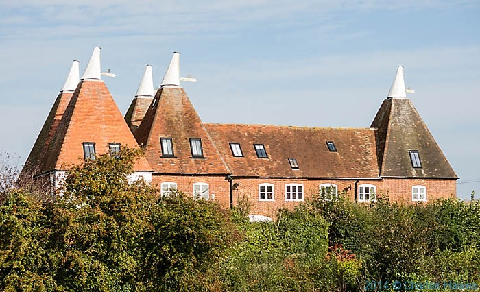 Hoppers oast , Chartham Hatch, photographed from The North Downs Way by Charles Hawes