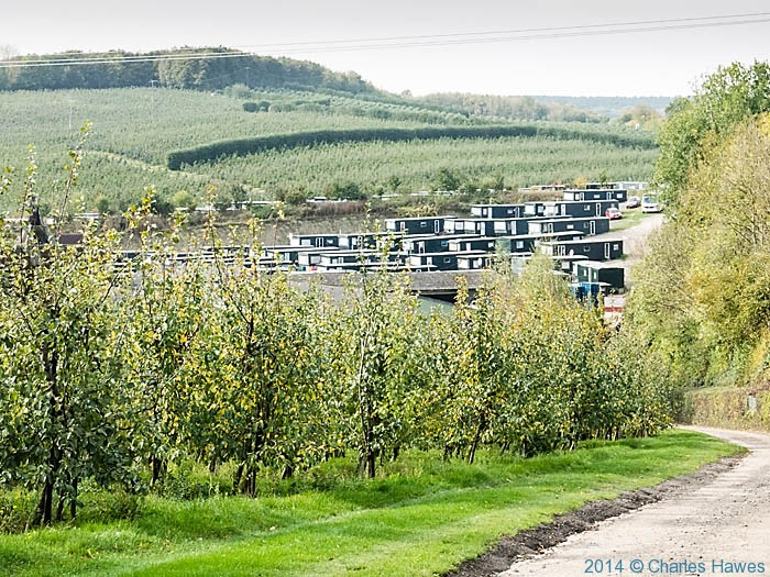 Fruit pickers accommodation at Mansfields, photographed from The North Downs Way by Charles Hawes