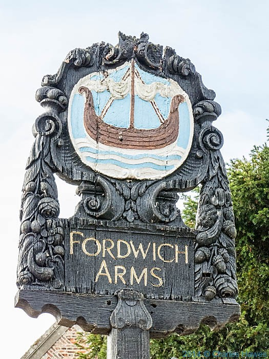 Sign of the Fordwich Arms, near Canterbury, photographed by Charles Hawes