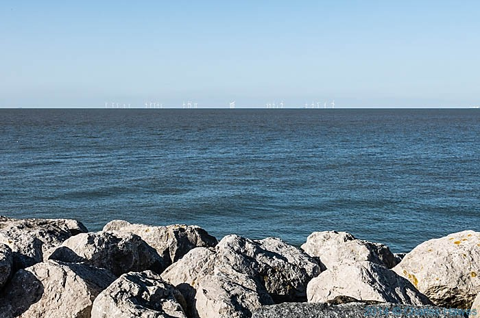 Wind turbines off the coast at Reculver, photographed from The Saxon Shore Way by Charles Hawes