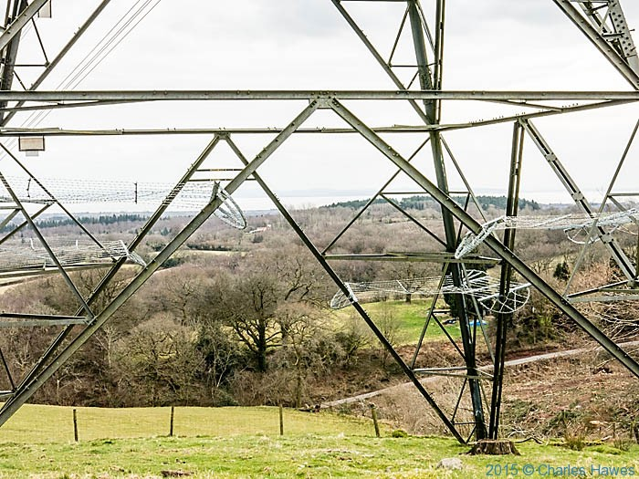 View to Cardiff through pylon on the North Cardiff Craigs walk, photographed by Charles Hawes