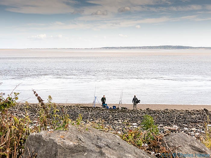 Fishermen on the Dee estuary near Mostyn, photographed from The Wales Coast Path by Charles Hawes