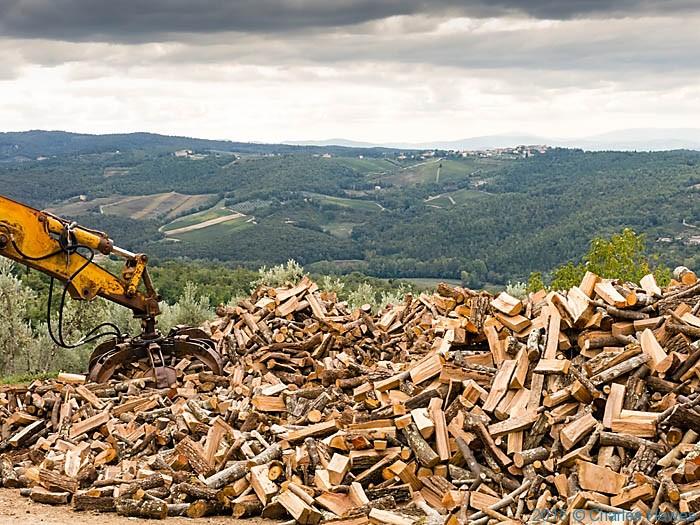 Firewood at Poggio al Vento near Badia a Passignano, Tuscany, photographed by Charles Hawes