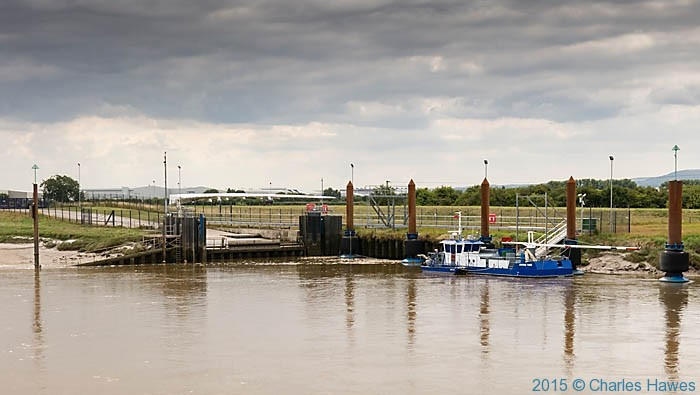 Ferry terminal for Airbus wings on the River Dee, photographed from The Wales Coast Path by Charles Hawes