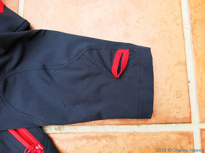 Thumb holes in cuff of Berghaus Jorasses softshell, photographed by Charles Hawes