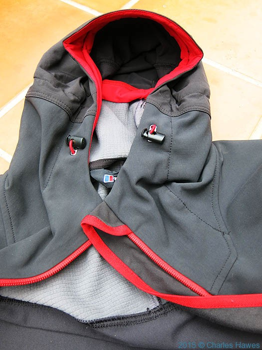Hood on Berghaus Jorasses softshell, photographed by Charles Hawes