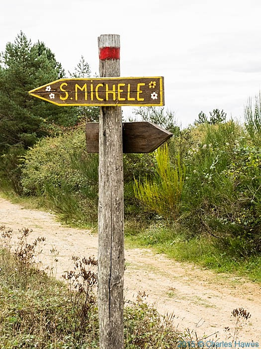 Sign for San Michele on Lamole ring walk, photographed by Charles Hawes