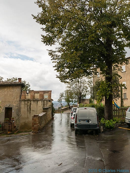 Pienza in the rain, photographed by Charles Hawes