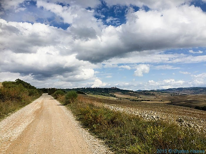 Gravel road outside Pienza, Tuscany, photographed by Charles Hawes