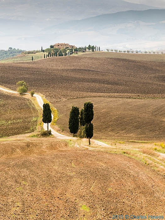 Road to Agriturismo Terrapille, Pienza, Tuscany, photographed by Charles Hawes