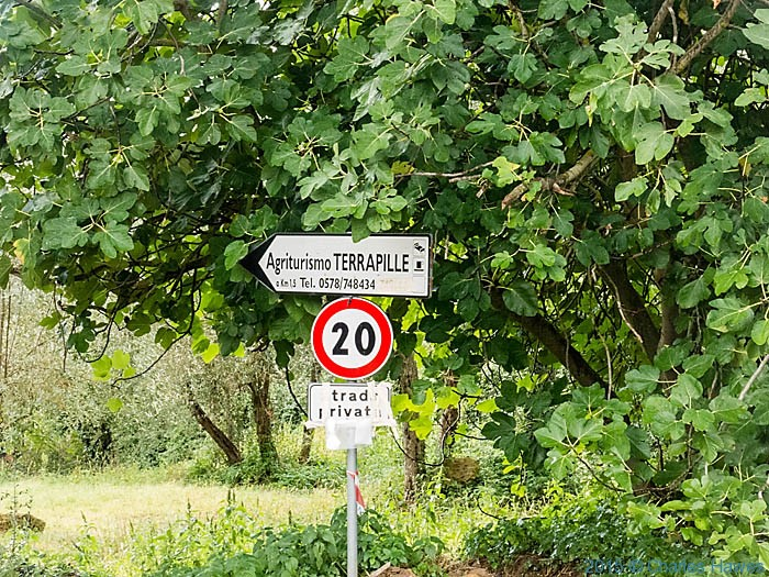 Sign for Agriturismo Terrapille, near Pienza, photographed by Charles Hawes