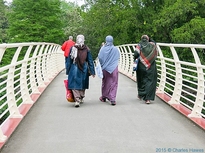 Footbridge over the River Taff, photographed from The Wales Coast Path by Charles Hawes