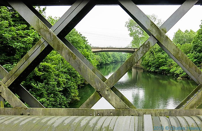 Iron bridge over the River Taff near Tongwynlais, photographed from the Cambrian Way by Charles Hawes