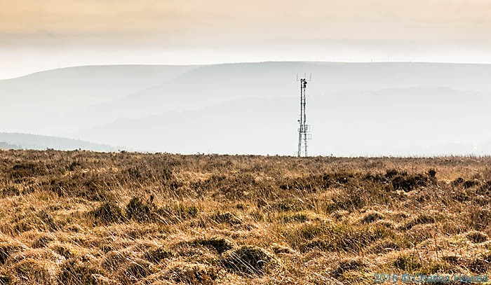 Communication mast above Cwmavon, photographed from The Cambrian Way by Charles Hawes