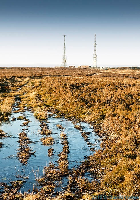Twin masts of WT station at Cefn y Galchen, photographed from The Cambrian Way by Charles Hawes