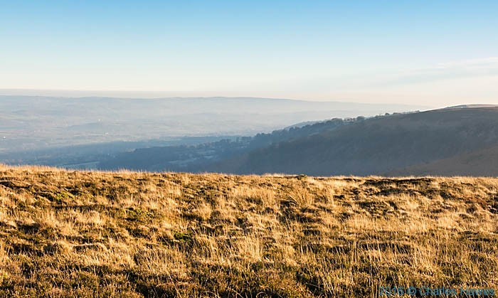 View over the Usk Valley from near Blorenge, photographed from The Cambrian Way by Charles Hawes