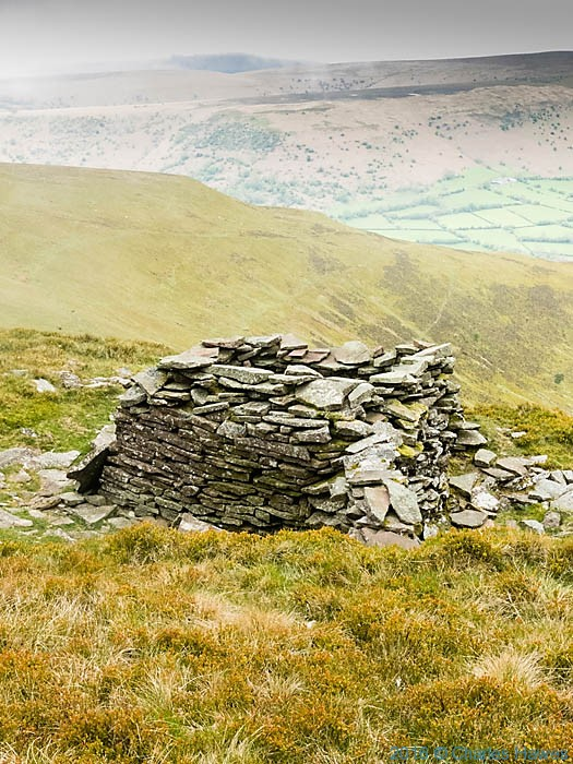 Shelter near Pen Allt Mawr on the Cambrian Way, photographed by Charles Hawes
