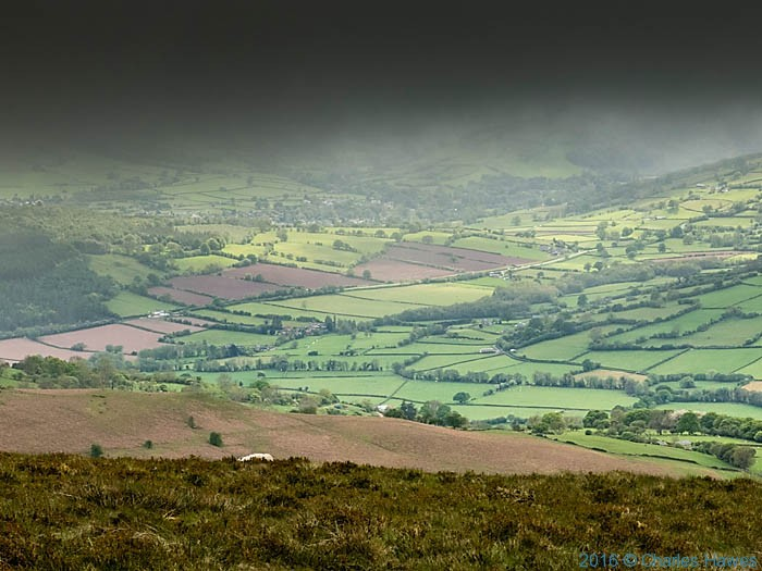 The Rhiangoll Valley, photographed from the Cambrian Way at Pen Aalt Mawr by Charles Hawes