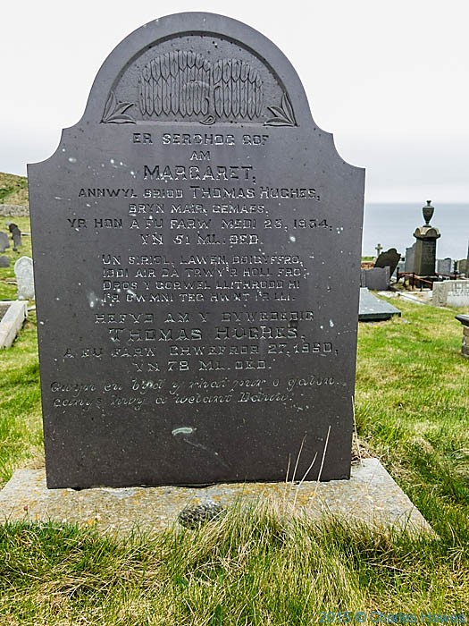 Gravestone in St Patricks Church, Llanbadig photographed from the Wales Coast Path in Anglesey by Charles Hawes