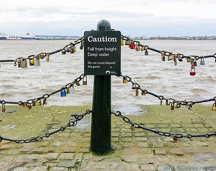 Love Lock railings, Liverpool waterfront, photographed by Charles Hawes