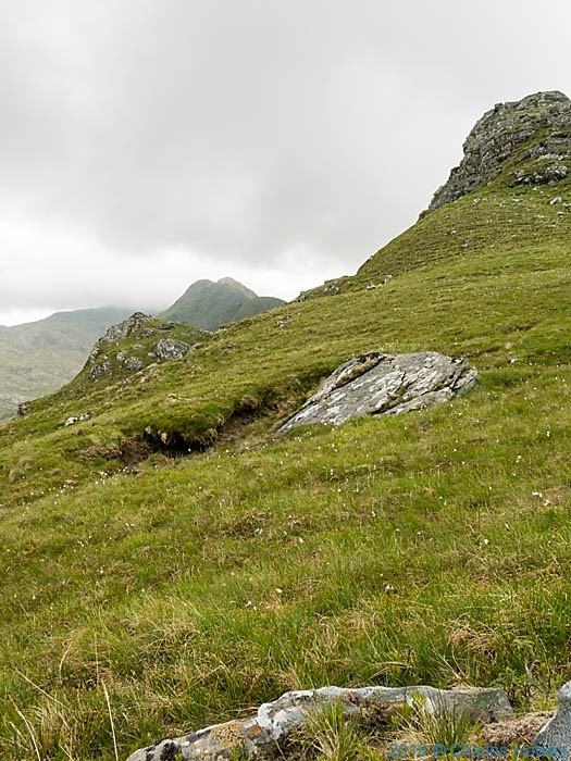 View towards Aonach Sgoilte from Mam Suidheig, Knoydart, Scotland, photographed by Charles Hawes