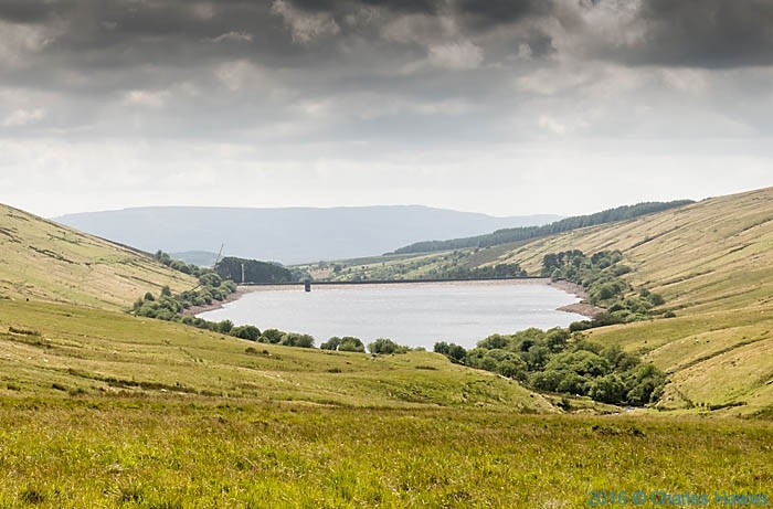 Ystradfellte reservoir, photographed from The Cambrian Way by Charles Hawes