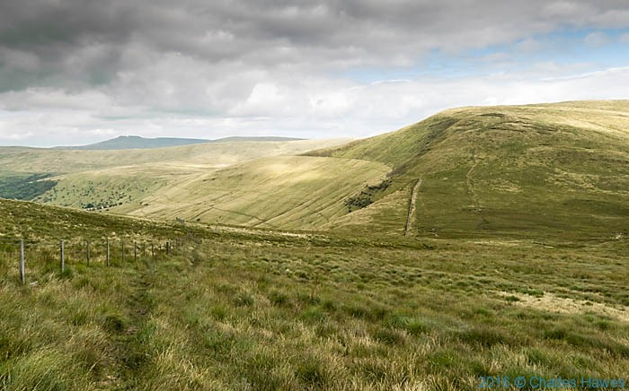 View to Pen Y Fan and Corn Du from near Fan Gyhirych photographed from The Cambrian Way by Charles Hawes