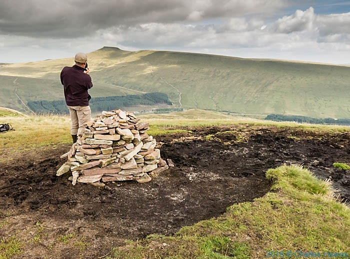 Cairn at Fan Fawr, Brecon Beacons, phootographed from The Cambrian way by Charles Hawes