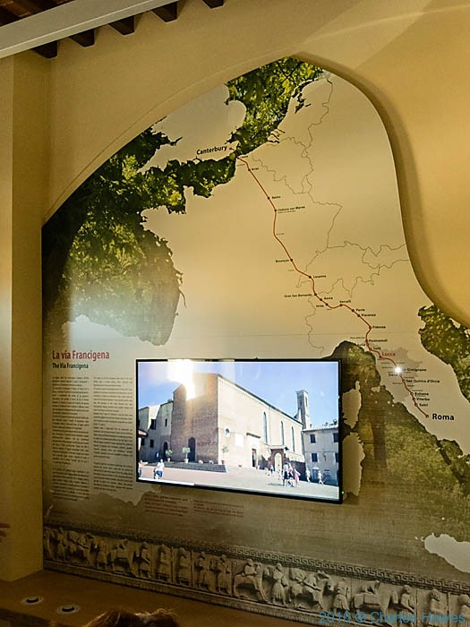 Display of the Via Francigena in the Casa del Boia, Lucca, photographed by Charles Hawes