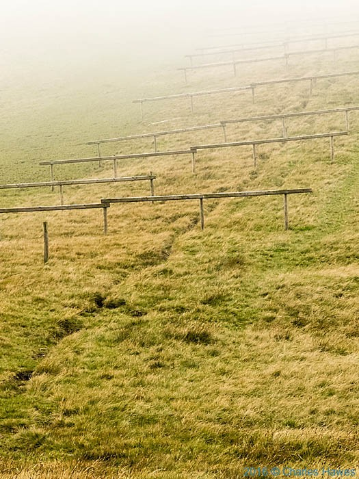 Barriers on the descent from Fan Foel, photographed on the Cambrian Way by Charles Hawes