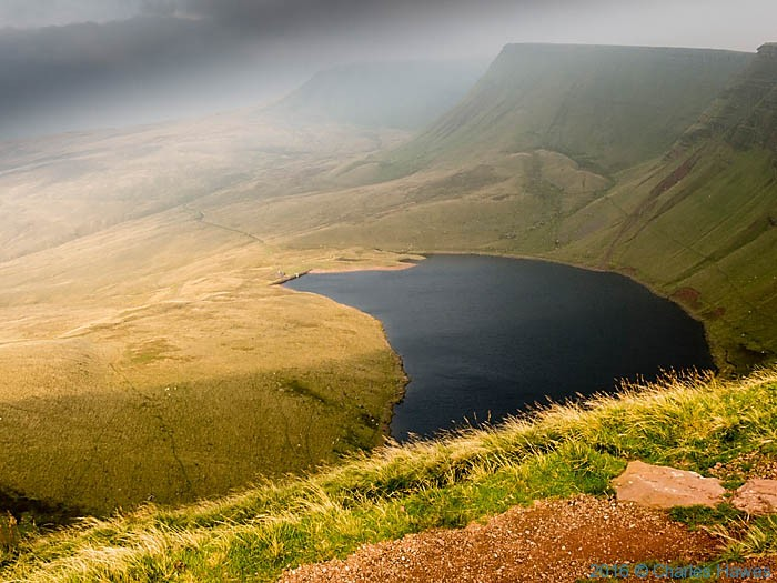 View onto Llyn y Fan Fach, photographed from The Cambrian Way by Charles Hawes
