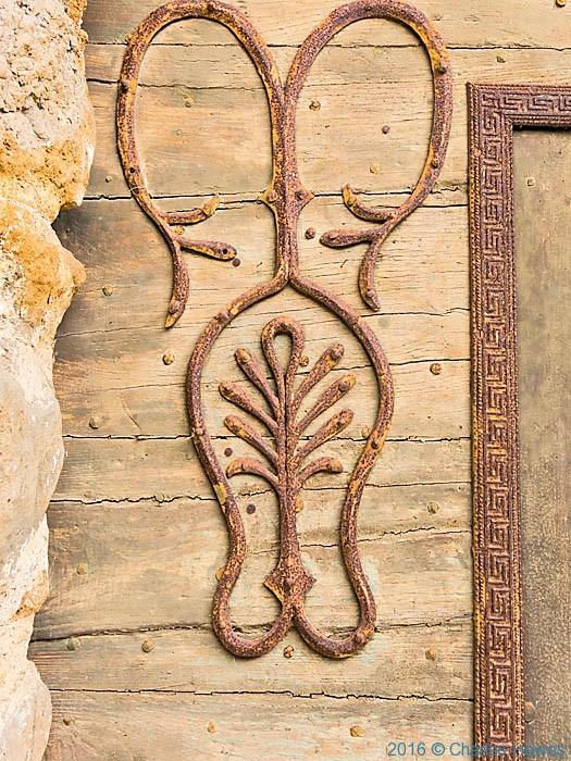 Detail of door of L'eglise Saint-Cyr-et-Sainte-Julitte, Ligneyrac, France, Photographed by Charles Hawes