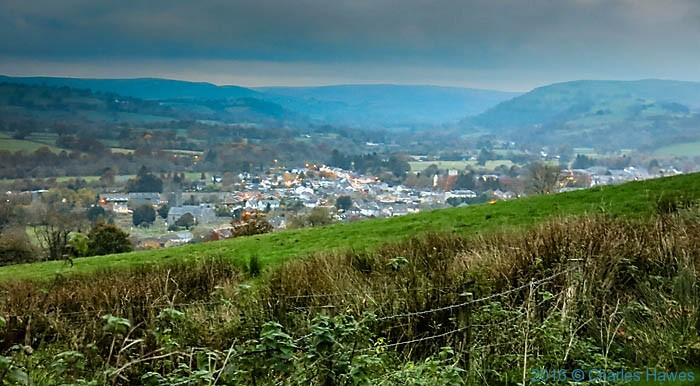 View to Llandovery from the south, photographed from the Cambrain way by Charles Hawes