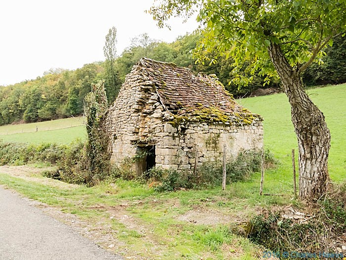 Small ruined barn near Saint Jean Lespinasse, France, photographed by Charles Hawes