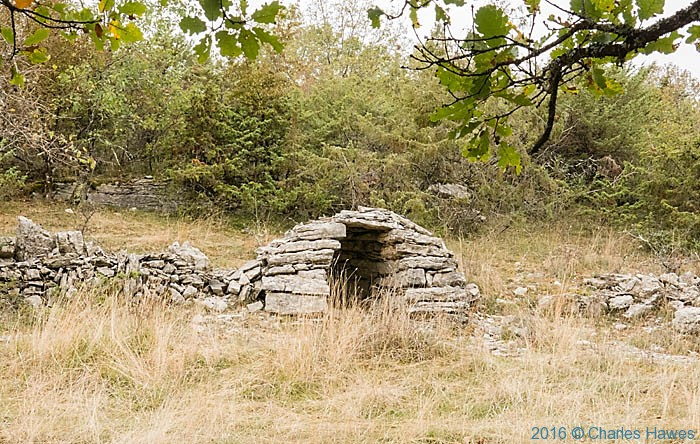 Stone shelter outside Loubressac, France, photographed by Charles Hawes