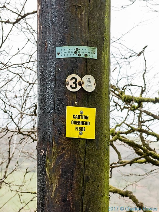 Pole with Fibre broadband photographed from the Cambrian Way by Charles Hawes