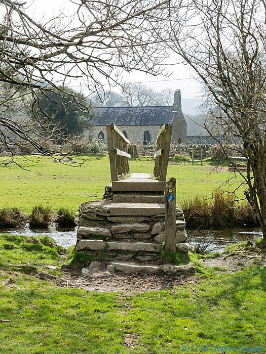 BFootbridge over the Teifi near Strata Florida, photographed from The Cambrian way by Charles Hawes