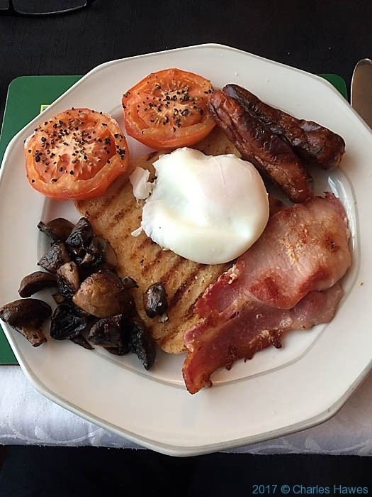 Cooked breakfast at The Black Lion Hotel Pontrhydfendigaid, photographed by Charles Hawes