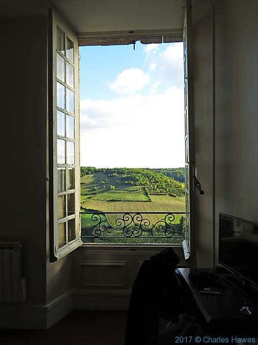 View from Hotel Raymond VII, Cordes, France, photographed by Charles Hawes