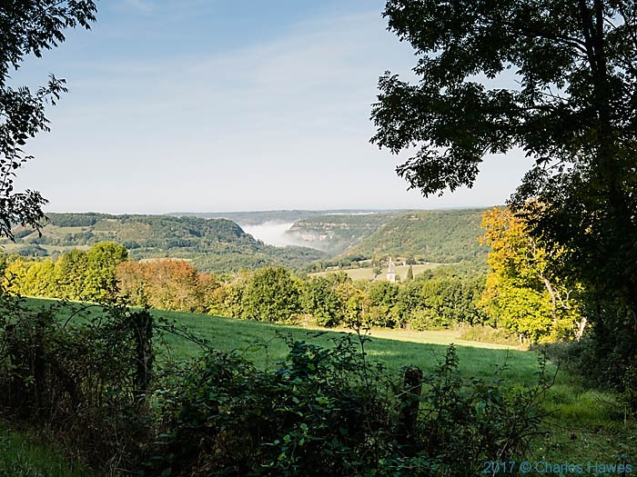 View to Aveyron valley from near Belaygue, France, photographed by Charles Hawes