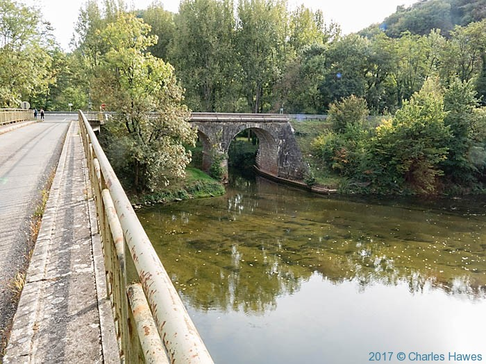 Bridge crossing the River Aveyron near Bruniquel, France, photographed by Charles Hawes